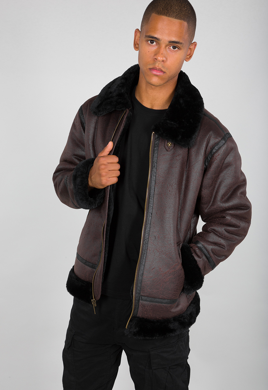 Details about Alpha industries B3 Fl Men's Fake Leather Jacket Braun Black 143106